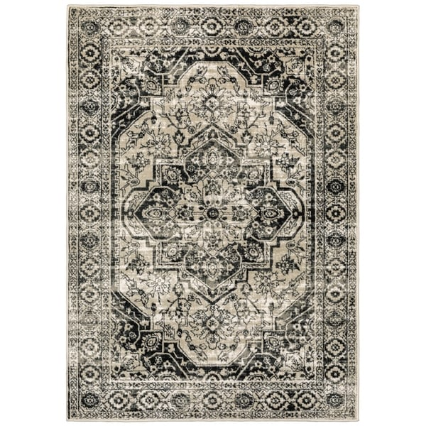 Porch & Den Patricia Distressed Grey Medallion Area Rug