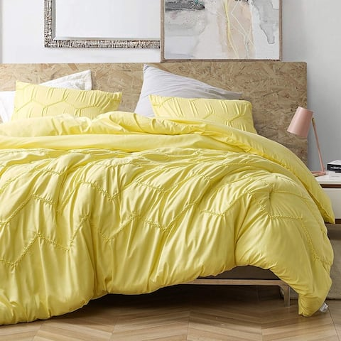 Textured Waves Oversized Comforter - Supersoft Limelight Yellow