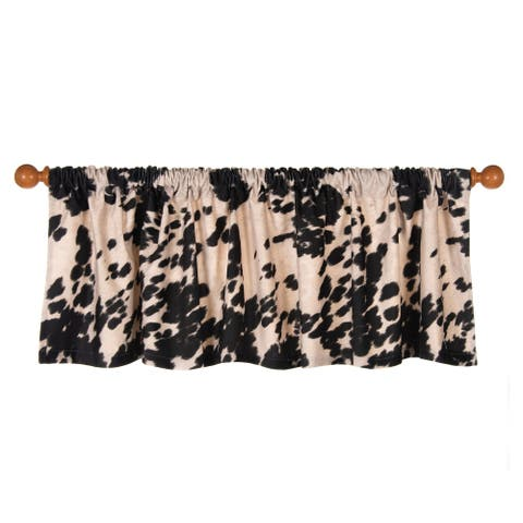 Glenna Jean Cow Animal Curtain Valance for Kids Window Black and White