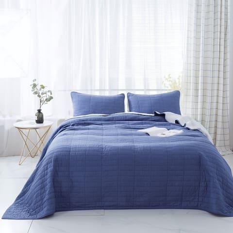 Kasentex Cotton Reversible 3-Piece Set Oversize Quilt