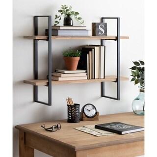 Kate and Laurel Leigh Wood and Metal Wall Shelf - 30x24