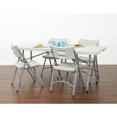 Office Star Lightweight Folding Plastic Chair (Set of 4)