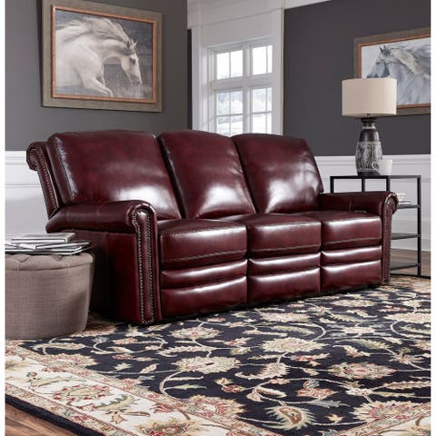 Port Burgundy Red Top Grain Leather Power Reclining Sofa
