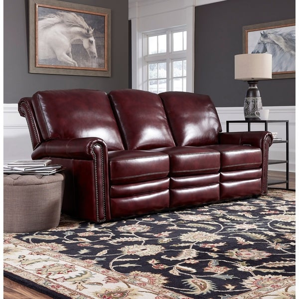Port Burgundy Red Top Grain Leather Power Reclining Sofa. Opens flyout.