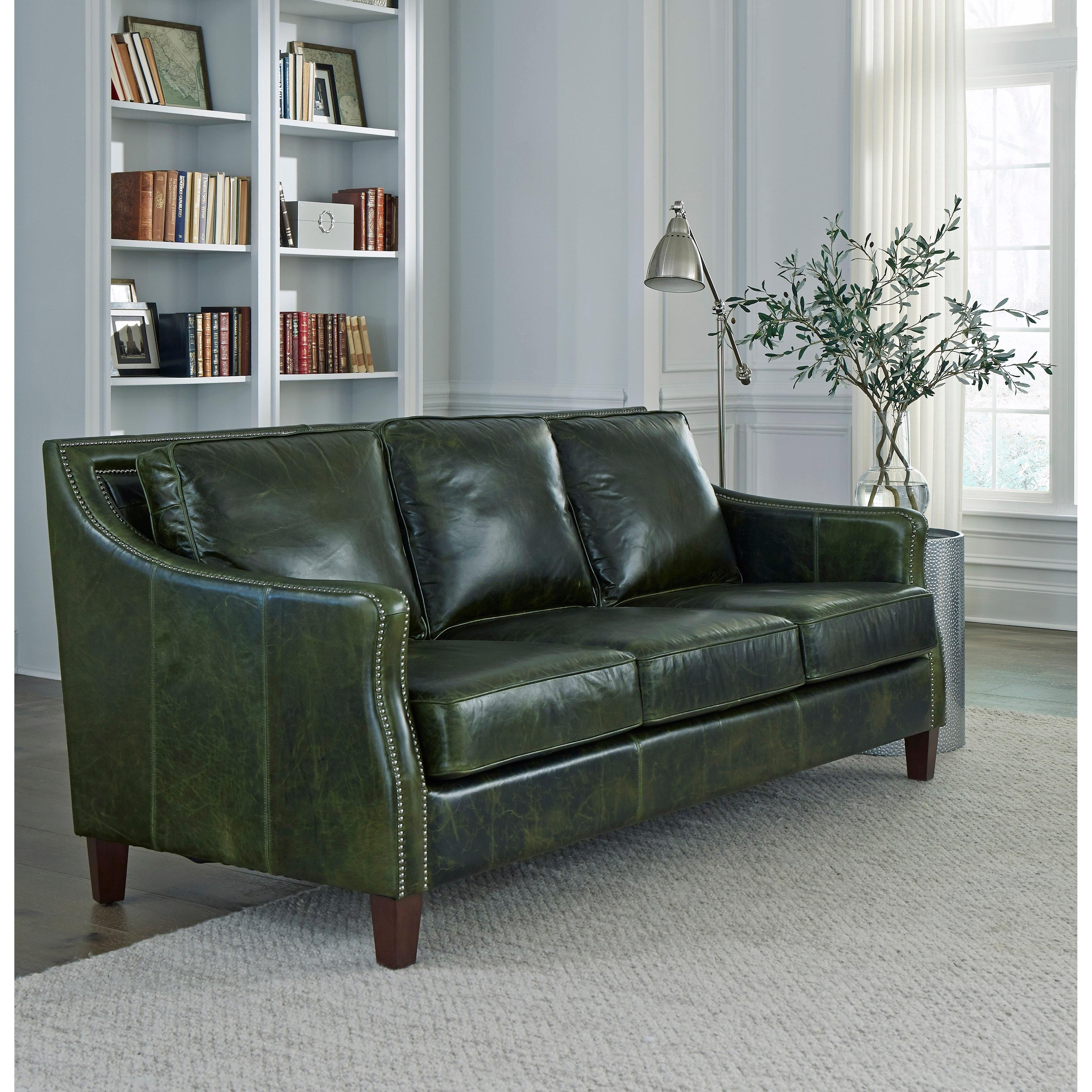 Green Top Grain Leather Sofa