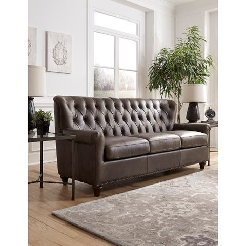 Hays Distressed Brown Tufted Top Grain Leather Chesterfield Sofa