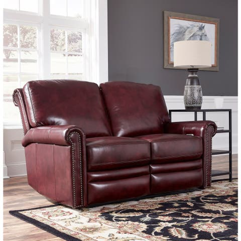 Port Burgundy Red Top Grain Leather Power Reclining Loveseat