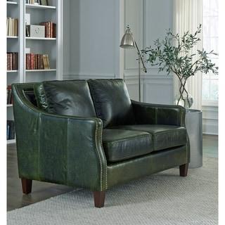Essex Distressed Green Top Grain Leather Loveseat