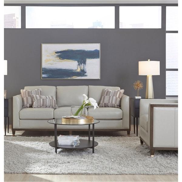 Alton Grey Top Grain Leather Modern Sofa and Chair