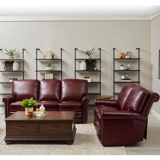 Port Burgundy Red Top Grain Leather Power Reclining Sofa and Loveseat