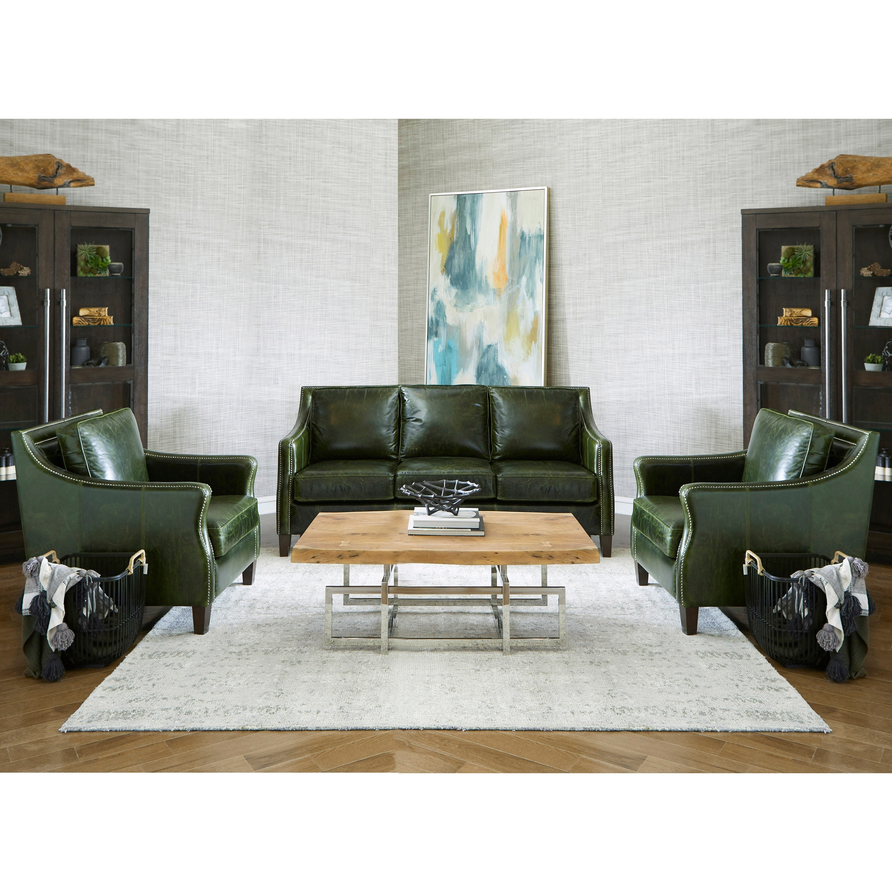 Top Grain Leather Sofa And Two Chairs
