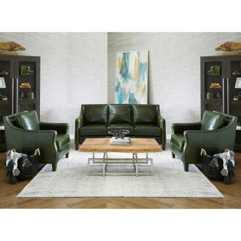 Essex Distressed Green Top Grain Leather Sofa and Two Chairs