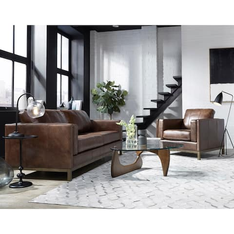 Summit Brown Top Grain Leather Sofa and Chair Set