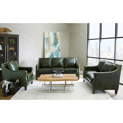 Essex Distressed Green Top Grain Leather Sofa, Loveseat and Chair