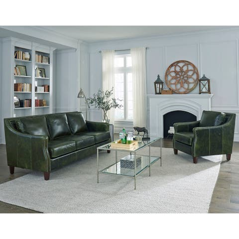 Essex Distressed Green Top Grain Leather Sofa and Chair