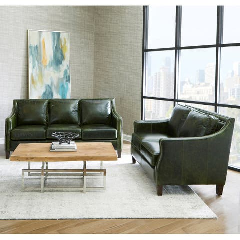 Essex Distressed Green Top Grain Leather Sofa and Loveseat