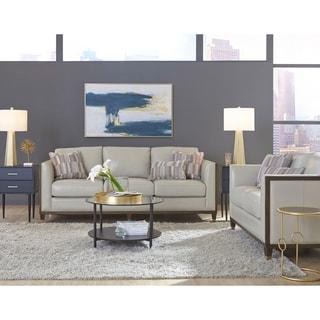 Alton Grey Top Grain Leather Modern Sofa and Loveseat