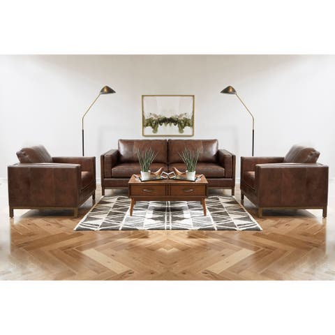 Summit Brown Top Grain Leather Sofa and Two Chairs