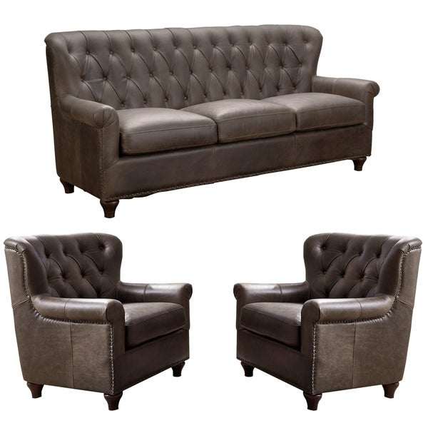 Hays Distressed Brown Tufted Leather Chesterfield Sofa and Two Chairs
