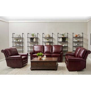Port Burgundy Red Leather Power Reclining Sofa, Loveseat and Chair