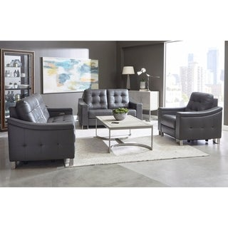 Evans Grey Leather Power Reclining Tufted Sofa, Loveseat and Chair
