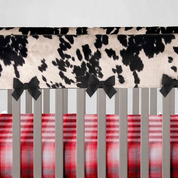 Glenna Jean Baby Crib Convertible Long Rail Guard Protector Black and White Cow