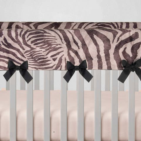 Glenna Jean Baby Crib Convertible Long Rail Guard Protector Black and White Zebra