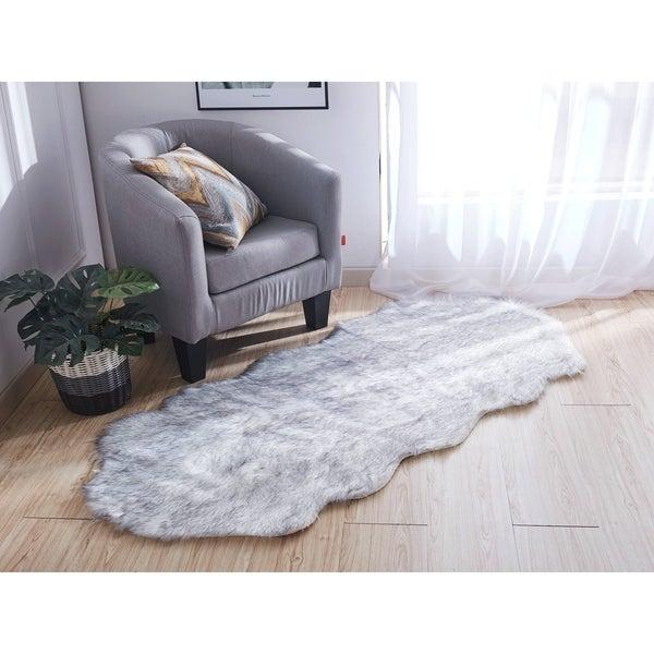 Luxury Decorative Faux Rug in Gray Sheepskin (32-inch x 71-inch) - 32-inch x 71-inch