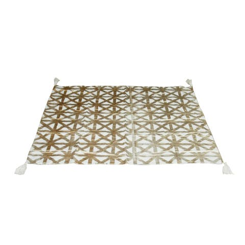 Natural and Gold 59-inch Square Tablecloth with Tassels