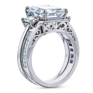 Annello by Kobelli 14k White Gold 6 Carats TGW 3-Stone Emerald Forever One Moissanite and Baguette Diamond Bridal Rings Set