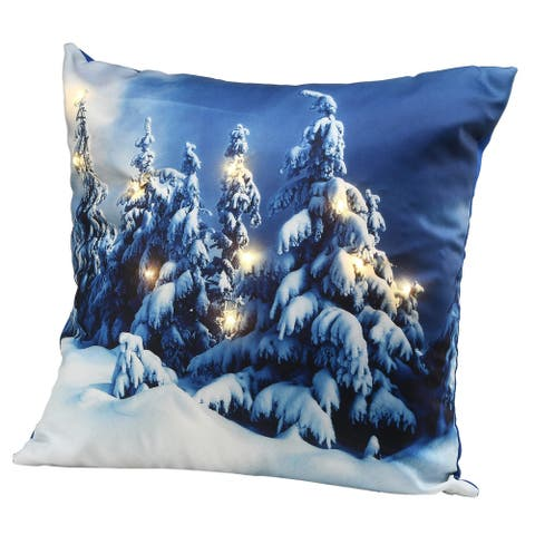 """17"""" Winter Scene Pillow with LED Lights"""