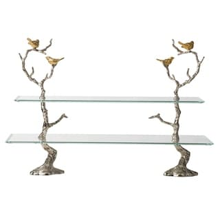 Silver and Clear 2-Tier Perched Birds Cake Plates