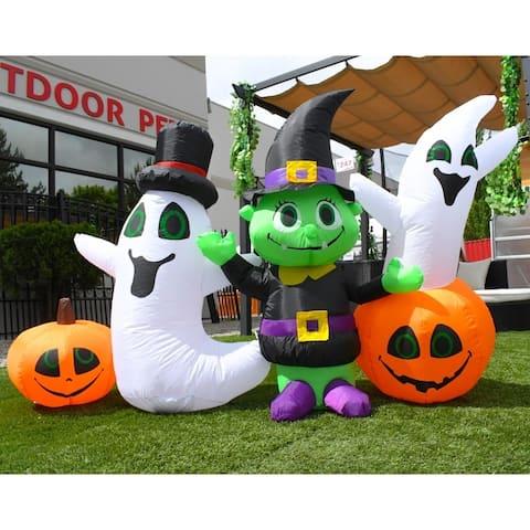 ALEKO Outdoor Inflatable Waving Halloween Ghost and Goblin Friends - 4 Foot - 6.5 x 1.6 x 3.9 Feet