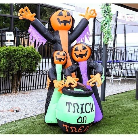 ALEKO Outdoor Halloween Inflatable Trick or Treat Pumpkin Witches - 6 Foot - 3.8 x 3.4 x 5.9 Feet