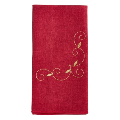 Holiday Napkins With Embroidered Design (Set of 4)