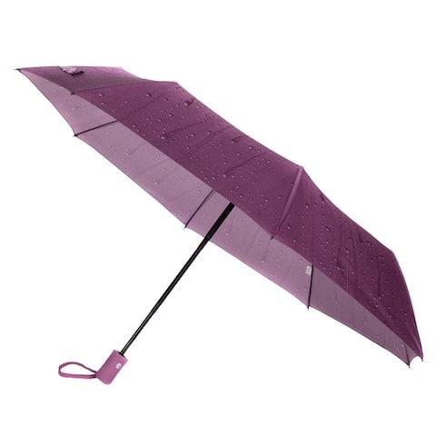 Compact Portable Auto Open UV Protection Raindrop Design 8 Rib Umbrella