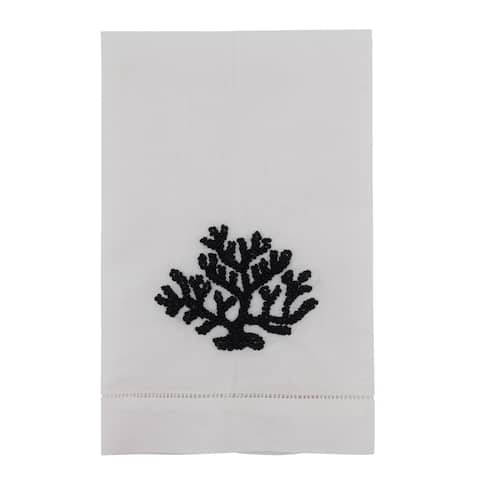Hemstitched Towels With Coral Design (Set of 4)