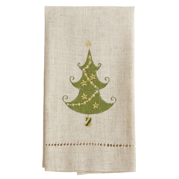 Lighted Christmas Tree Design Embroidered and Hemstitched Guest Towels (Set of 4)