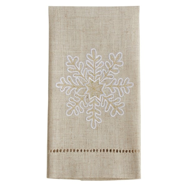 Snowflake Design Embroidered and Hemstitched Guest Towels (Set of 4)