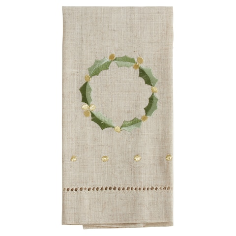 Wreath Design Embroidered and Hemstitched Guest Towels (Set of 4)