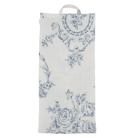 Toile Kitchen Towels With Floral Design (Set of 4)