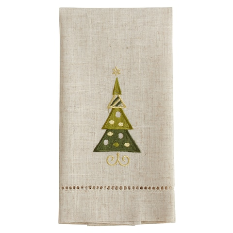 Christmas Tree Design Embroidered and Hemstitched Guest Towels (Set of 4)