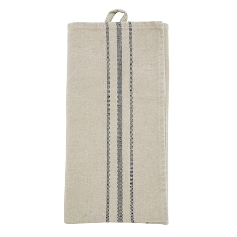 Linen Kitchen Towels With Striped Design (Set of 4)
