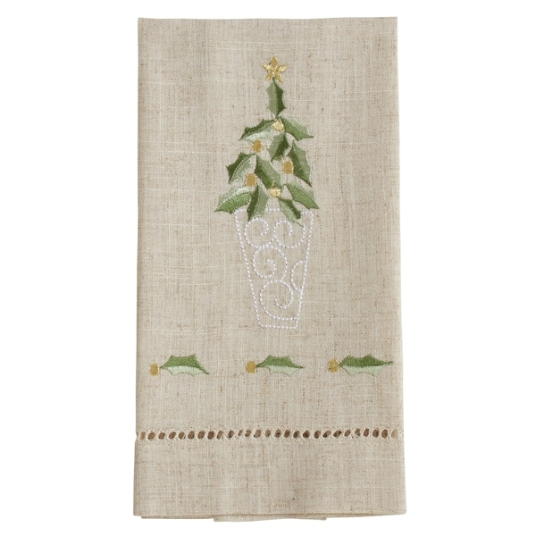 Topiary Design Embroidered and Hemstitched Guest Towels (Set of 4)