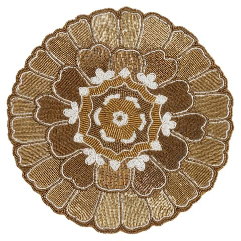 Beaded Placemats With Floral Design (Set of 4)