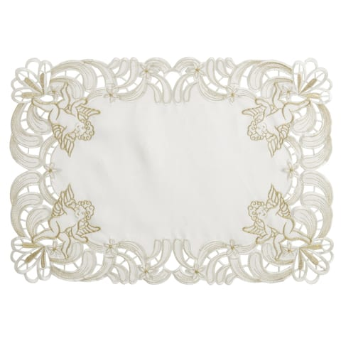 Embroidered Placemats With Cupid Design (Set of 4)