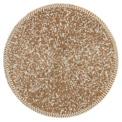 Round Placemats with Sparkly Beaded Design (Set of 4)