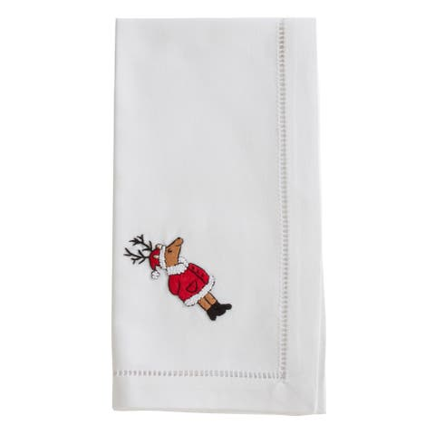 Cotton Napkins with Embroidered Reindeer Design (Set of 6)