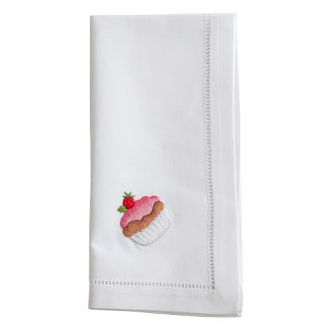 Cotton Napkins with Embroidered Cupcake Design (Set of 6)
