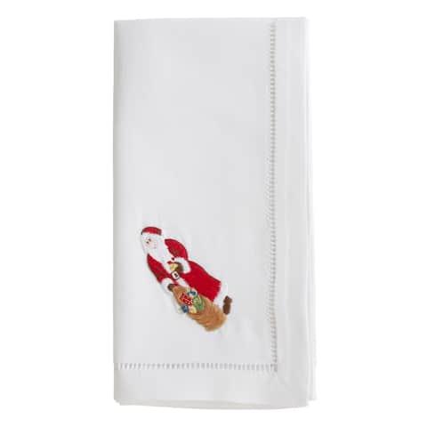 Cotton Napkins with Embroidered Santa Design (Set of 6)